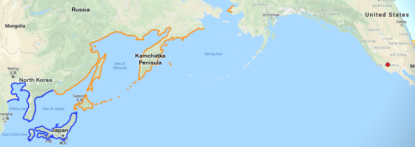 Map of Kamchatka Peninsula